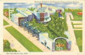 New York World's Fair AT&T Exhibit Building 1939 Linen  Postcard