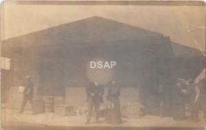 B14/ Wellman Iowa Ia Real Photo RPPC Postcard 1913 Railroad Depot Station People