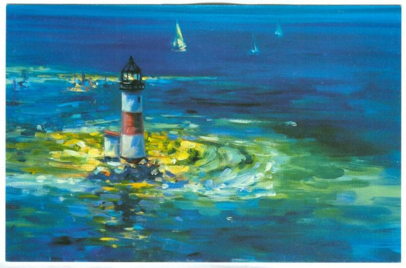 Painting Lighthouse, Harlequin Postcard Collection, unused Postcard
