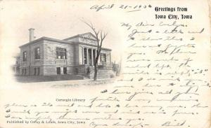 Iowa City Carnegie Library Greeting Private Mailing 1906 Antique Postcard K11940