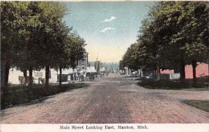 Michigan Mi Postcard c1910 MANTON Main Street Looking East Stores Homes