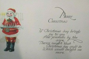 Santa With Serving Tray Christmas Postcard Original Vintage Gold Edge Unused