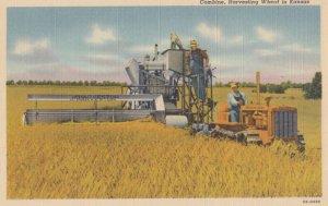 Combine , Harvesting Wheat in Kansas , 1930-40s