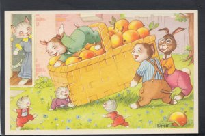 Childrens Postcard - Cute Animals With a Basket of Fruit  - Artist Simon  HP227