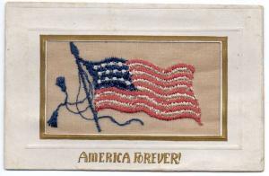 Patriotic Greetings America Forever Embroidered Silk Flag Postcard J79918