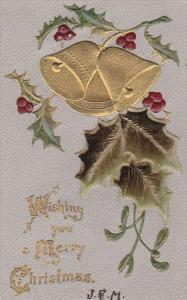 Embossed, Wishing you a Merry Christmas, gold detail ringing bells, holly, 00...