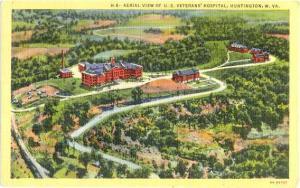 Air View of U.S. Veteran' Hospital ,Huntington, West Virginia ,WV. Linen