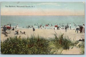 Postcard RI Matunuck Beach The Bathers at the Beach c1918 View Q5