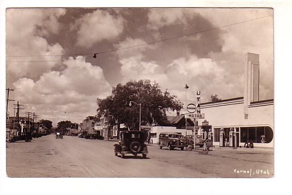 Real Photo, Main Street,  Movie Theater, Coca Cola Sign, Vernal, Utah