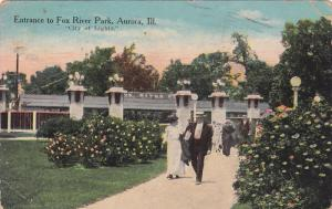 Entrance to Fox River Park, Aurora, City of Lights, Illinois, PU-1913