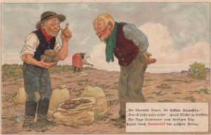 Sack Of Potatoes Potato Farmer Antique WW1 1914 German Postcard