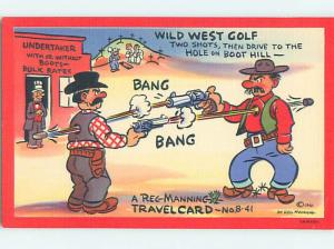Linen comic signed OLD WEST COWBOYS SHOOT EACH OTHER IN SHOOTOUT HJ1976