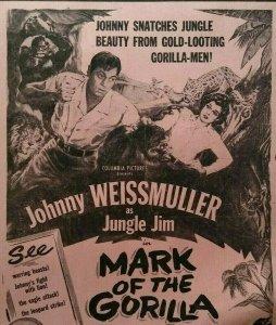Jungle Jim Mark Of The Gorilla Johnny Weissmuller Movie Poster 1951 Original