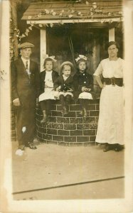 Postcard RPPC Family At The Well