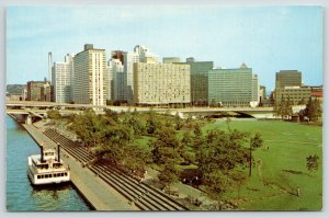 Pittsburgh PA~Skyline @ Manchester Bridge~Point Park Waterfront Steps~1960s