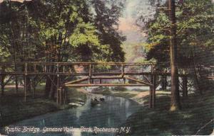 Canoe under Rustic Bridge Genesee Valley Park Rochester New York - pm 1910 - DB