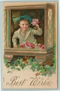 Victorian Sailor Boy Holds Pink Rose~Window Box~Poppies~Gold Leaf Emboss~1910