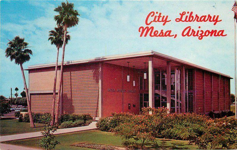 1950s City Library Mesa Arizona Petley postcard 1990