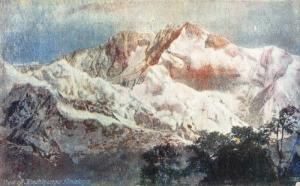 India Panoramic view of Kanchenjunga Himalaya Mountain Landscape Postcard