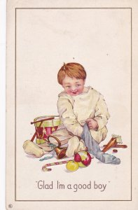 Glad I'm A Good Boy, Boy Putting Toys Inside A Sock, Many Toys, 1910-1920s