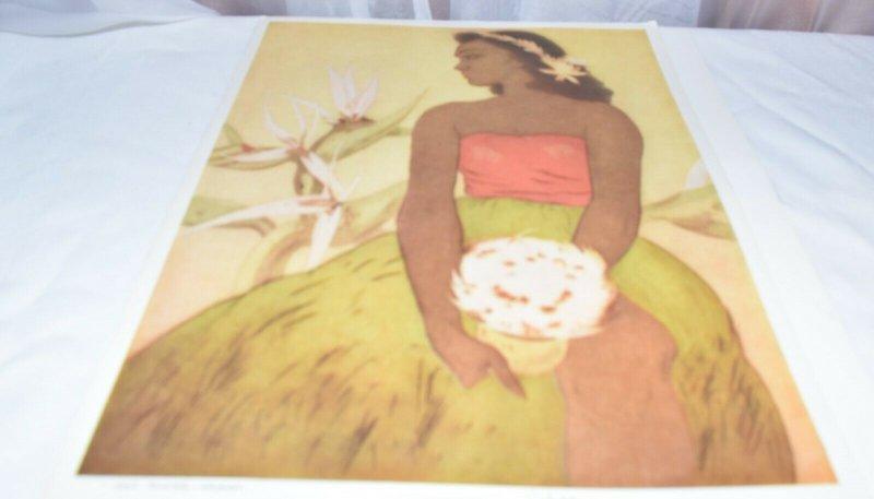 Hula Dancer, Hawaii  Illustrated by John Kelly, Royal Hawaiian Menu 1948