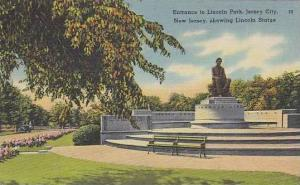 New Jersey Jersey City  Entrance To Lincoln Park Showing Lincoln Statue