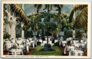 Palm Beach, Florida Postcard Grill Room, Royal Poinciana Hotel 1925 Cancel