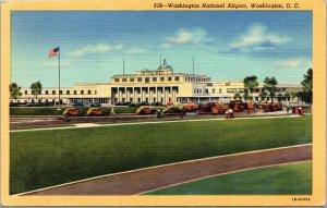 Vtg 1940s Washington National Airport Wahington DC Linen Postcard