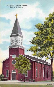 St Joseph Catholic Church Kentland Indiana linen postcard