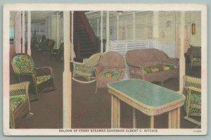 Boats~Ferry Steamer~Governor Albert C Ritchie~Interior~Saloon~Postcard