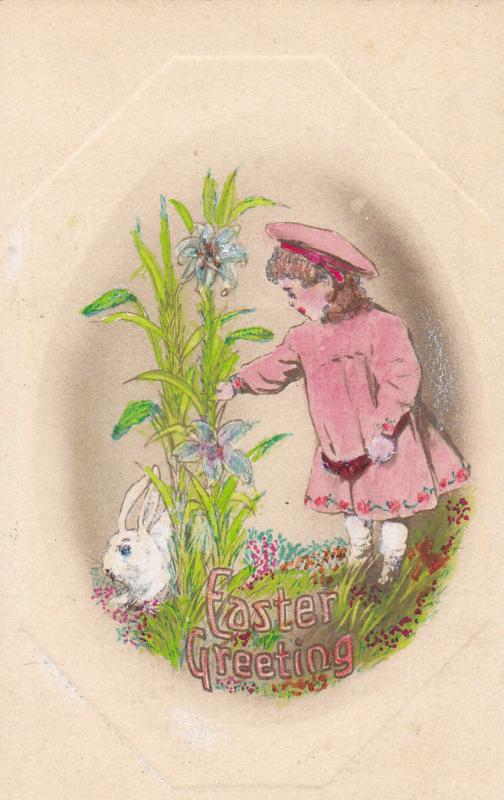 Easter Greeting, Girl spying on rabbit lying down behind purple lilly, PU-1910