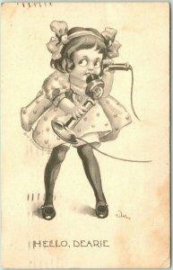 Artist-Signed WALL Postcard Girl on Telephone HELLO, DEARIE 1912 IA Cancel