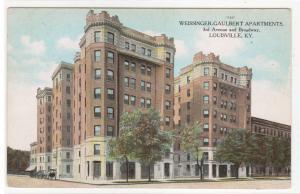 Weissinger Gaulbert Apartments Louisville Kentucky 1910c postcard