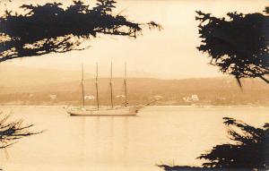 Southwest Harbor ME Vista of a Four Master RPPC Postcard