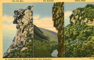 NH - Franconia Notch, Three Stone Faces (Only two remain today- see description)