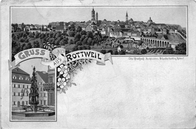 ROTTWEIL GERMANY-GRUSS aus OTTO BRATHWOHL PUBLISHED 1900s POSTCARD