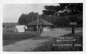 Northampton MA The Pines Auto Camp Site Socony Gas Station Store RPPC Postcard