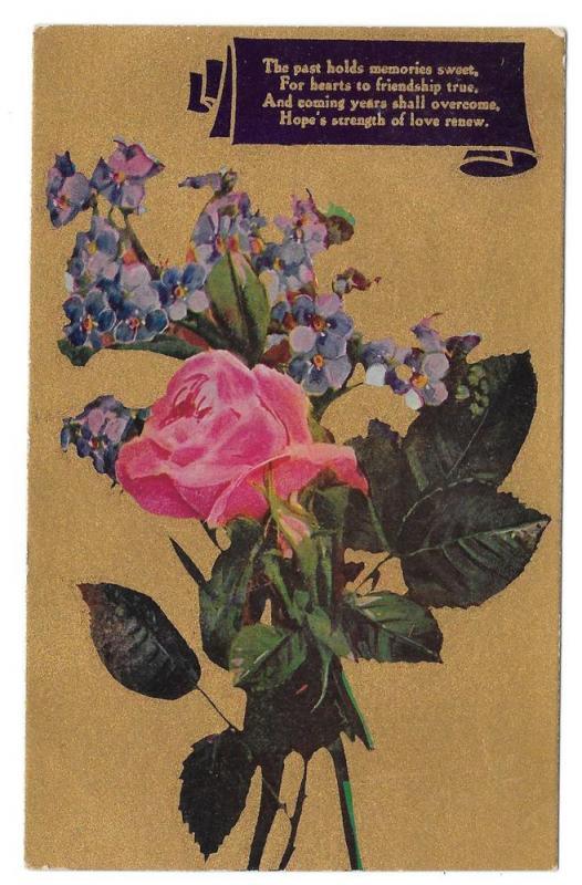 Motto Friendship Poem 1910 Postcard Flowers Pink Rose Gold