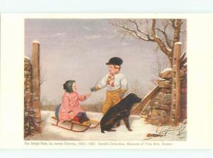 Old Postcard DOG PULLING GIRL ON TOBOGGAN SLED AC2346
