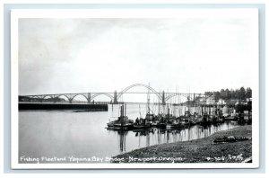 RPPC Newport OR Yaquina Bay Bridge Fishing Fleet Postcard
