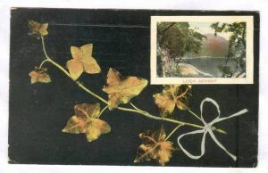 Insert of Loch Achray, Oak leaves branch with white bow, United Kingdom, PU-1907