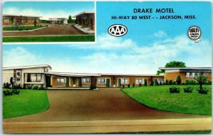 Jackson, Mississippi Postcard DRAKE MOTEL Highway 80 Roadside c1950s Unused