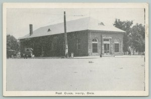 Perry Oklahoma~Post Office~1920s Automobiles B&W Postcard