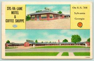 Sylvania Georgia~Syl-Va-Lane Motel & Coffee Shop~2 Views~US 301~1953 Roadside