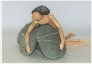 Wooden Toy Doll Puppet Disaster Fall On Rocks German Postcard