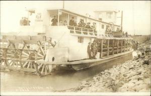 Williston ND Paddle Wheel Steamer Ship THE ELK PORT OF PEMBINA RPPC c1910