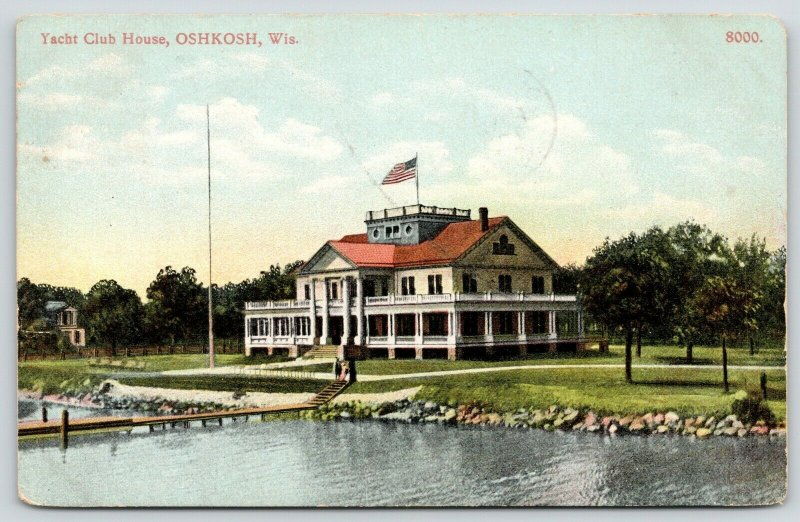 Oshkosh Wisconsin~Yacht Club House~Couple on Steps Down to Dock~1908