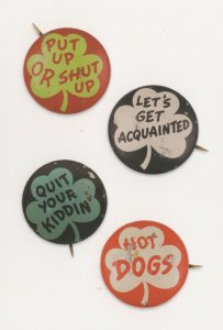 Hot Dogs Put Up Or Shut Up Quit Your Kiddin' Poppy Badge Button Postcard