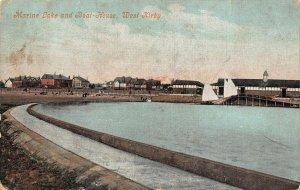 West Kirby Marine Lake and Boat House Promenade Beach Postcard