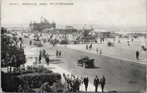 Rhyl Parade and Promenade Wales UK Grano Series Postcard D90